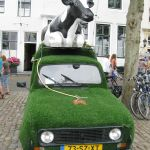 Koeien liften met auto's